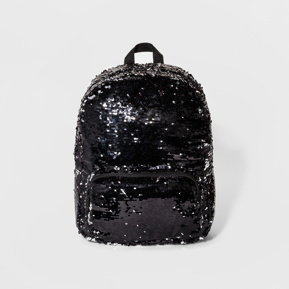 Womens Color Change Sequin Backpack - Black/Silver