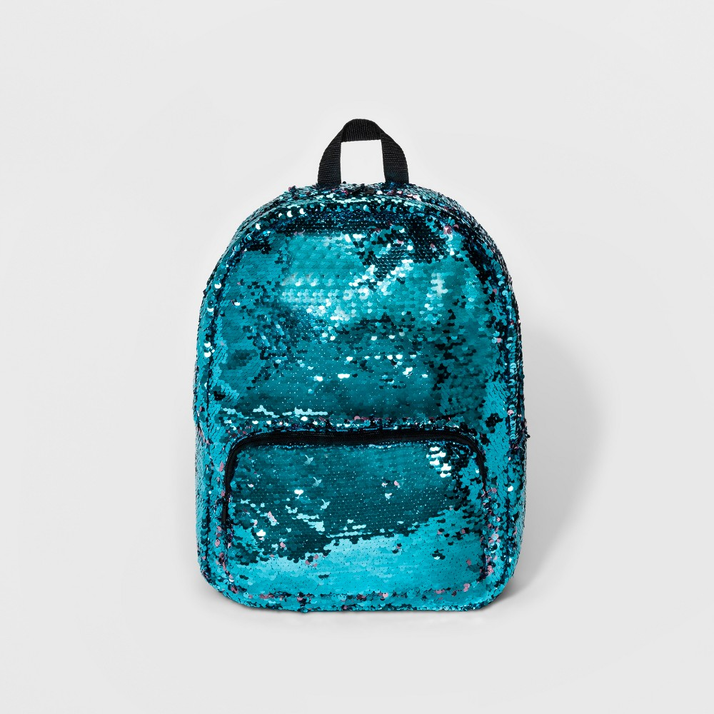 Womens Color Change Sequin Backpack - Pink Turquoise, Pink/Turquoise