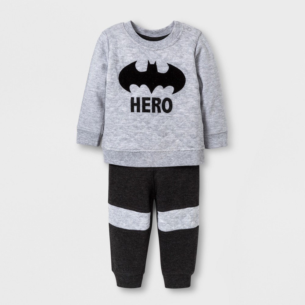 Baby Boys 2pc Batman Sweater and Pants Set - Gray 3-6 M