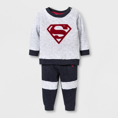 Warner Bros. Baby Boys' 2pc Superman Sweater and Pants Set - Gray/Blue 0-3 M