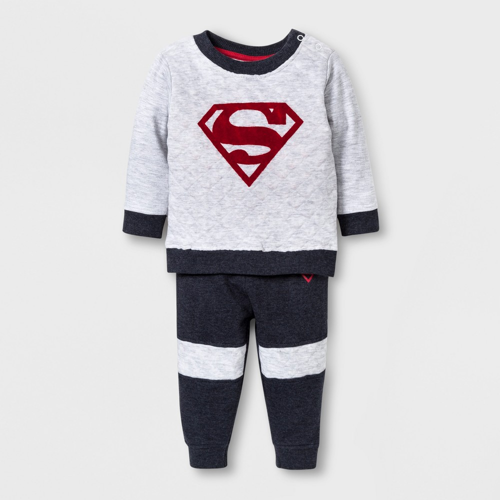 Baby Boys 2pc Superman Sweater and Pants Set - Grey 3-6 M, Gray