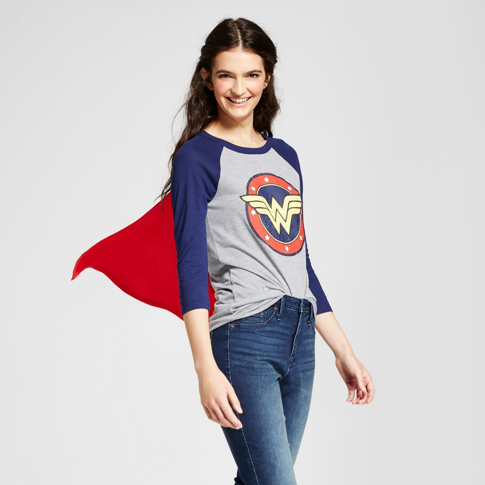 Womens DC Comics Wonder Woman Halloween Graphic Cape T-Shirt (Juniors) - Gray M