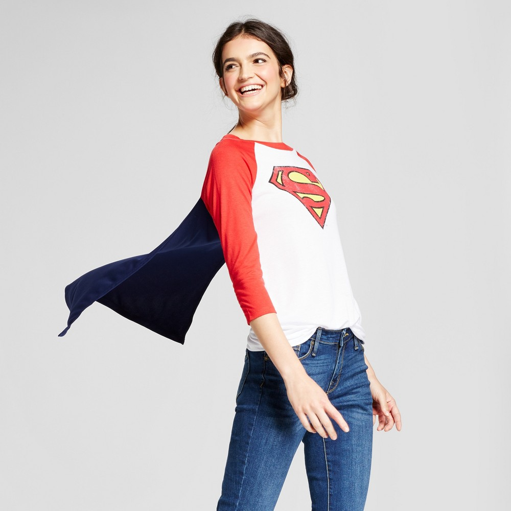 Womens DC Comics Superman Halloween Graphic Cape T-Shirt (Juniors) - White S