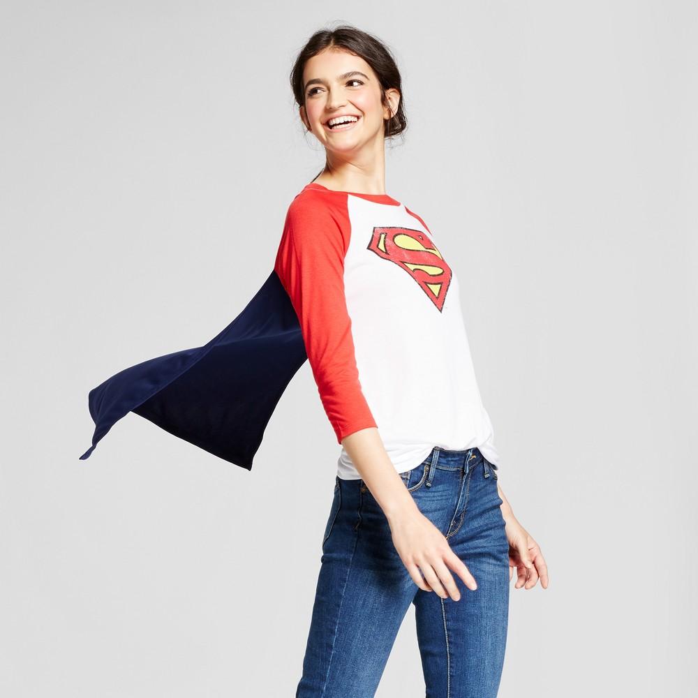 Womens DC Comics Superman Halloween Graphic Cape T-Shirt (Juniors) - White M