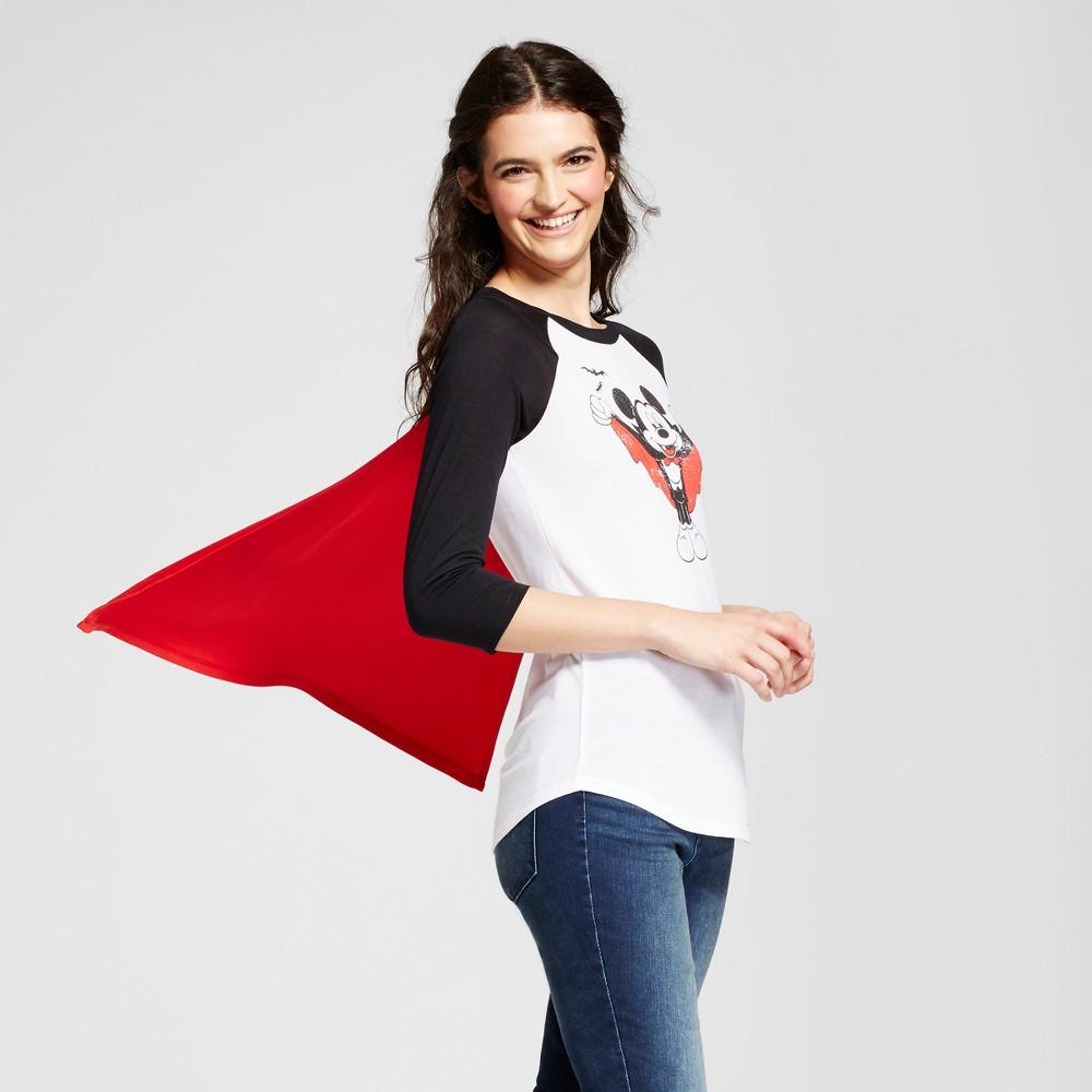 Womens Disney Vampire Mickey Halloween Graphic Cape T-Shirt (Juniors) - White M, Black