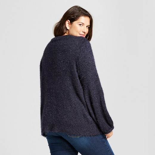 Women's Plus Size Bishop Sleeve Fuzzy Pullover Sweater - A New Day ...
