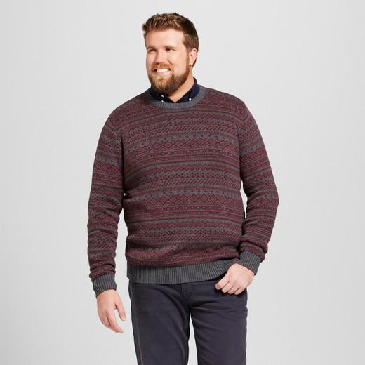 Men's Big & Tall Fairisle Sweater - Goodfellow & Co™ Charcoal XLT ...