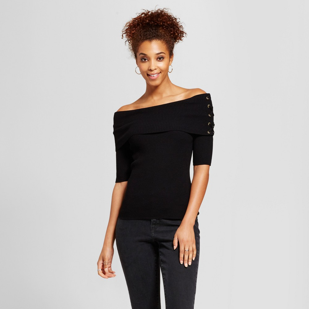 Womens Off the Shoulder Lace Up Lightweight Sweater - Xoxo (Juniors) Black M