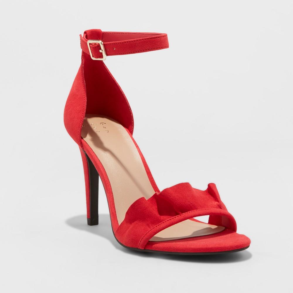 Womens Sandi Ruffle Heel Sandal Pumps - A New Day Red 11