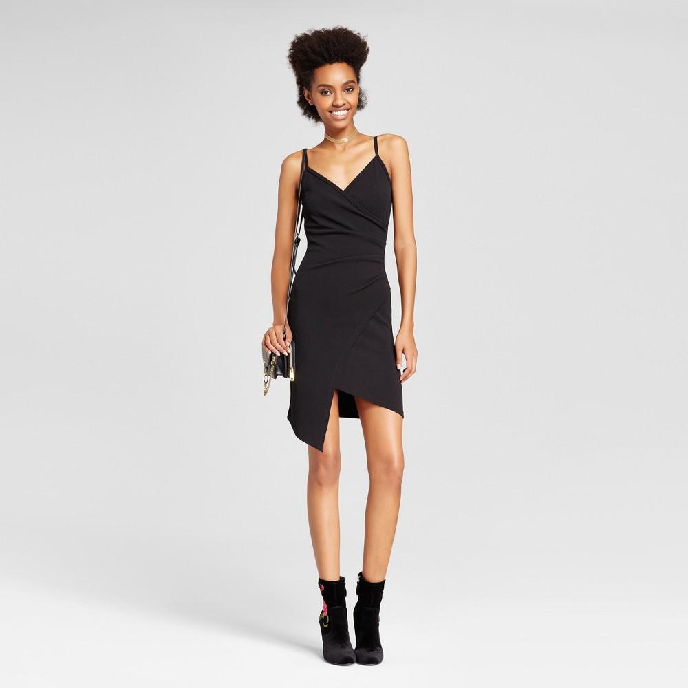 Womens Wrap Asymmetrical Dress - Almost Famous (Juniors) Black L