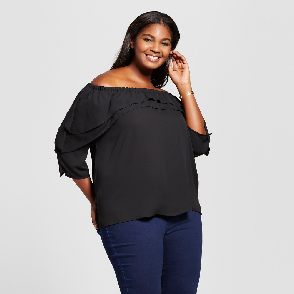 Womens Plus Size Off the Shoulder Ruffled Blouse - Notations - Black 3X
