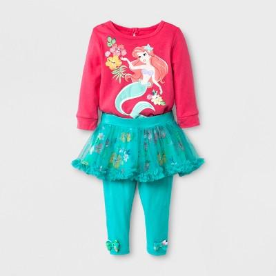 Baby Girls' Disney Ariel Baby Bodysuit & Tutu Leggings Set - Pink 6-9M