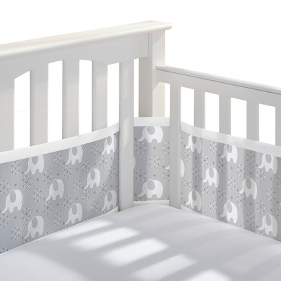 BreathableBaby® Mesh Crib Liner - Peaceful Elephant - Gray