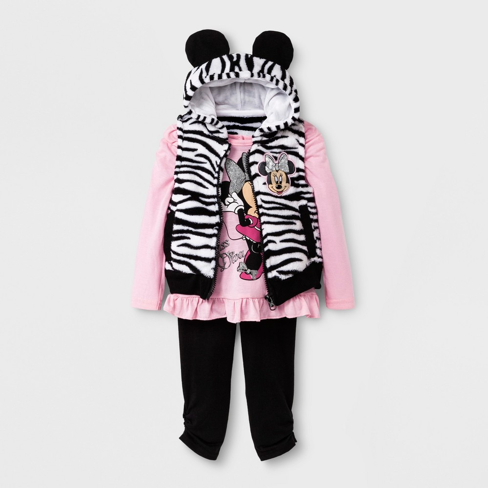Baby Girls Disney Minnie Mouse 3pc Tee, Pants, & Vest Set - Black 18M, Size: 18 M