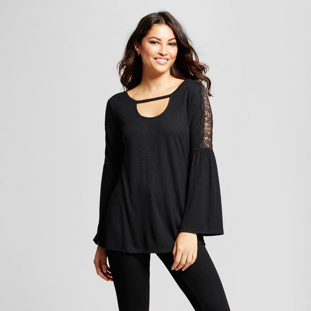 Womens Black Lace Sleeve Knit Peasant Blouse - Simply by Love Scarlett Black S