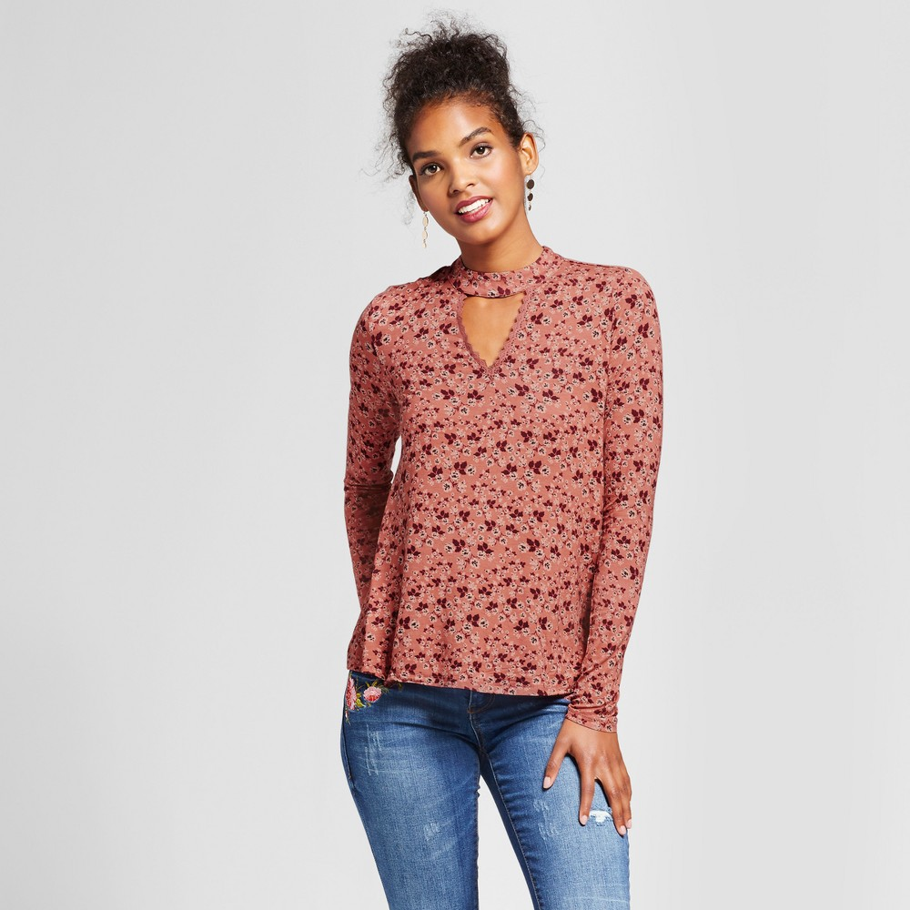 Womens Printed Knit Cutout Top - Xhilaration (Juniors) Rust (Red) XS