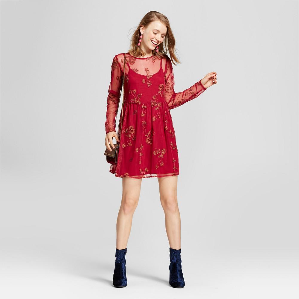 Womens Mesh Babydoll Dress - Xhilaration (Juniors) Burgundy (Red) XL