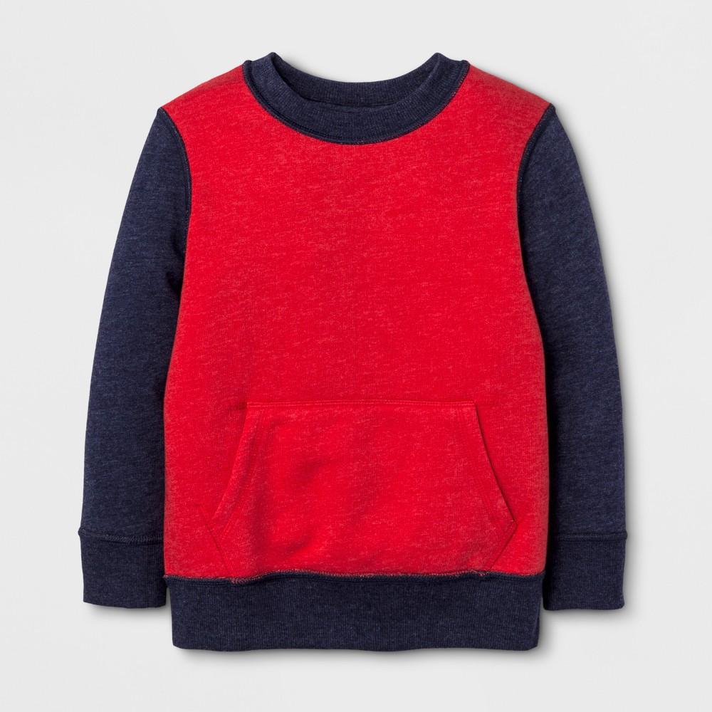 Toddler Boys Adaptive Fleece Hooded Sweatshirt - Cat & Jack Red 2T