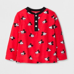 Toddler Boys' Mickey Mouse Long Sleeve Henley Shirt - Red