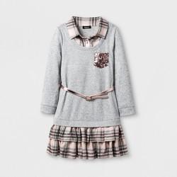 ZENZI® Girls' Roll Sleeve Drop Waist Plaid Ruffle Hem/Collar A Line Dress With Sequin Pockets - Heather Gray