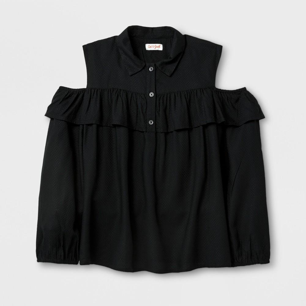 Girls Cold Shoulder Ruffle Top - Cat & Jack Black XL