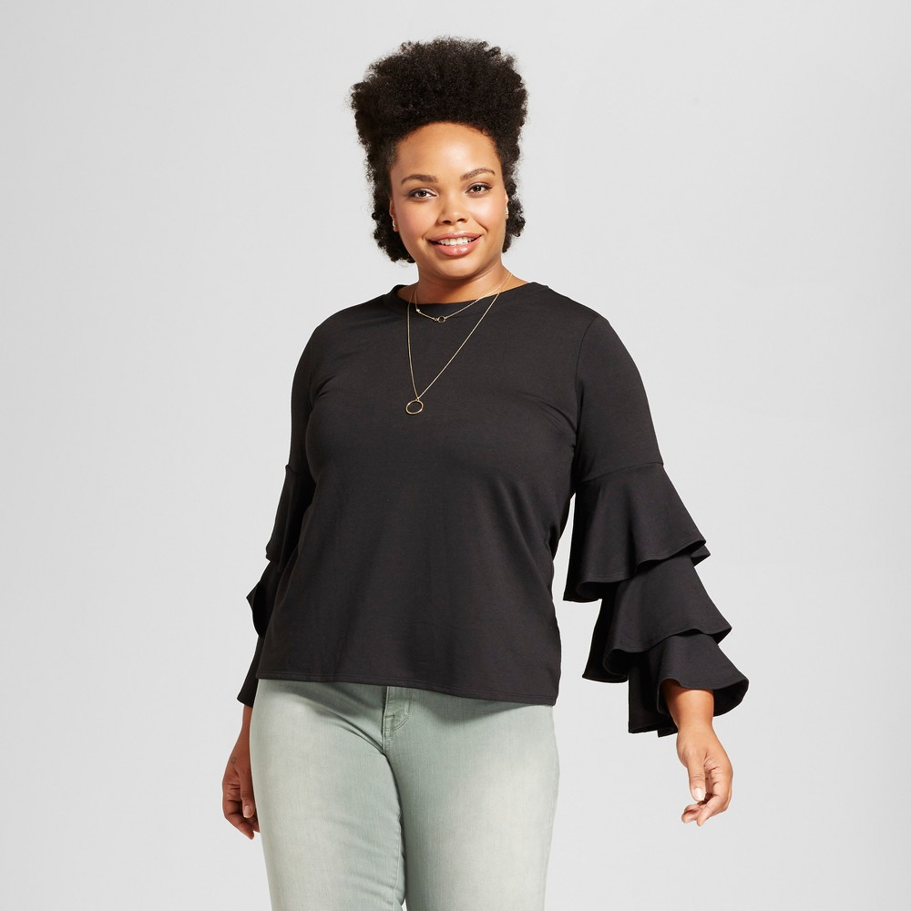 Womens Plus Size Ruffled Sleeve Tie Back Blouse - Notations - Black 3X