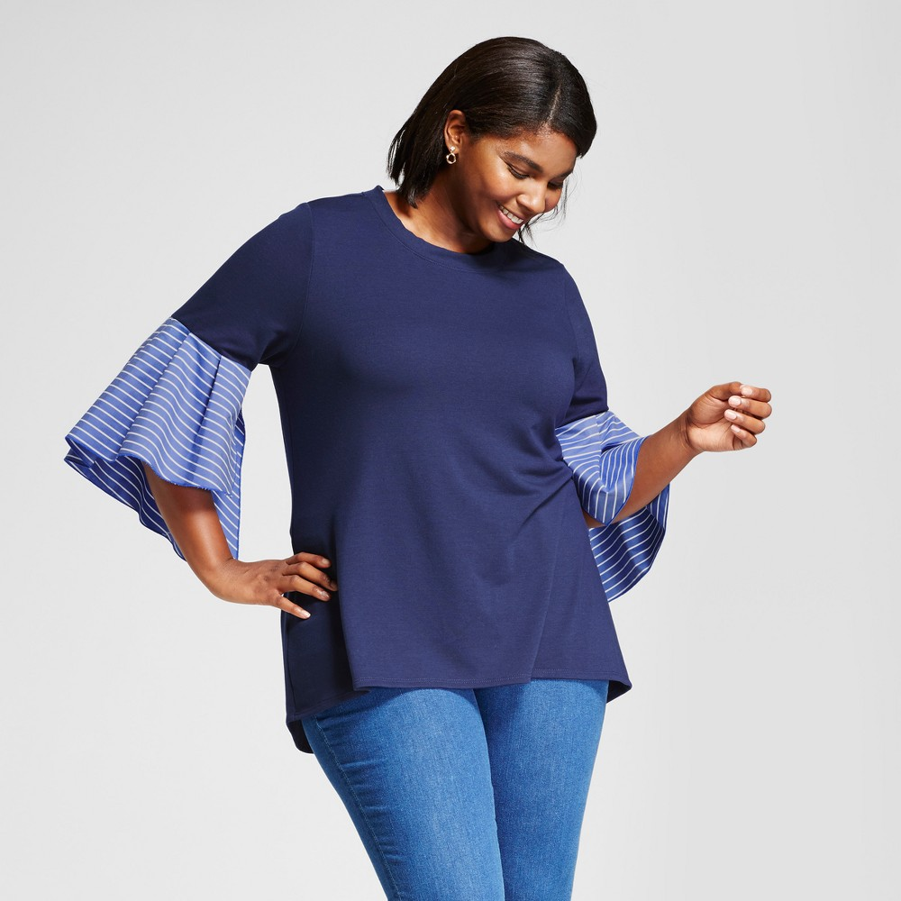 Womens Plus Size Hi Lo Knit Blouse - Notations Blue 2X