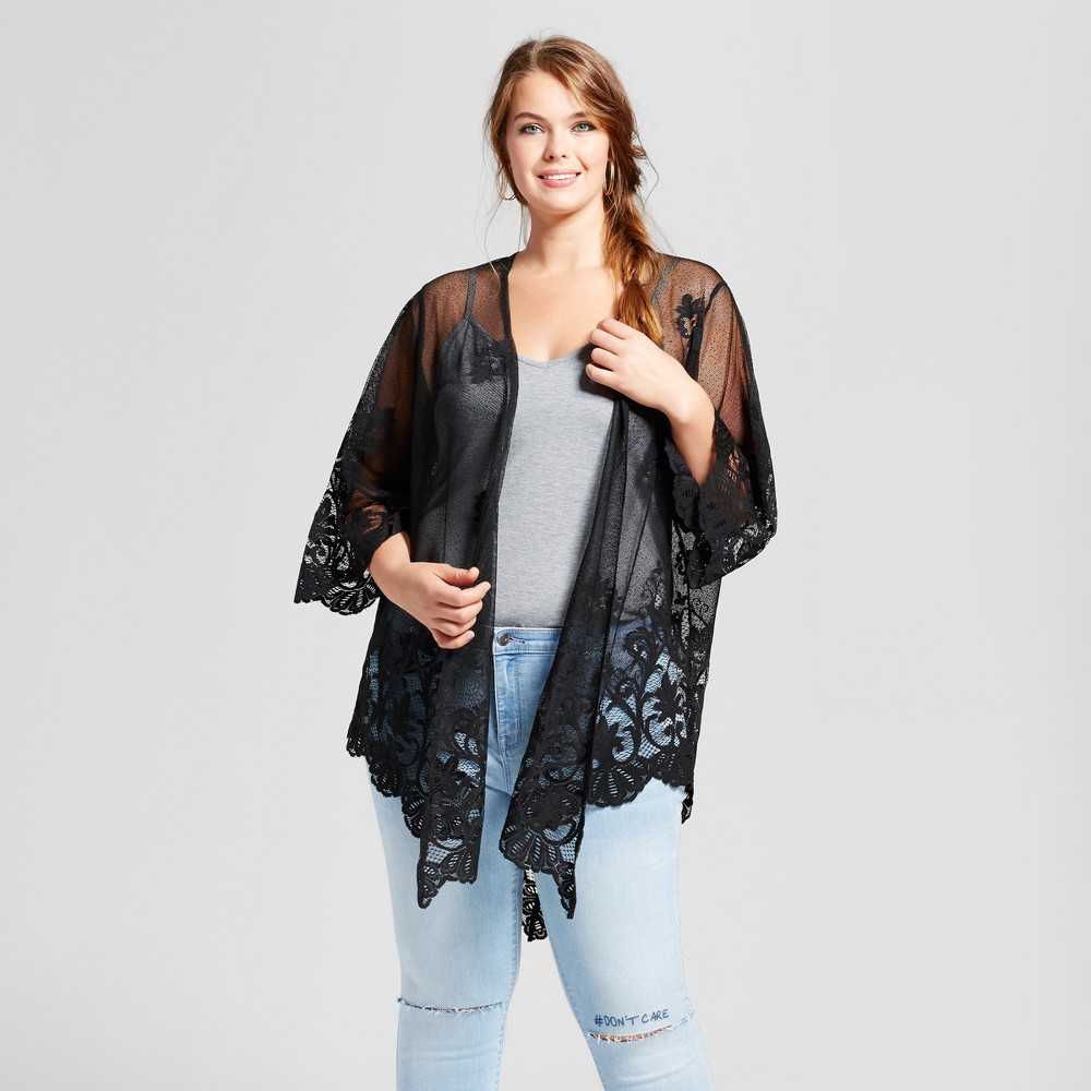 Womens Plus Size Lace Kimono - Xhilaration Black 3X