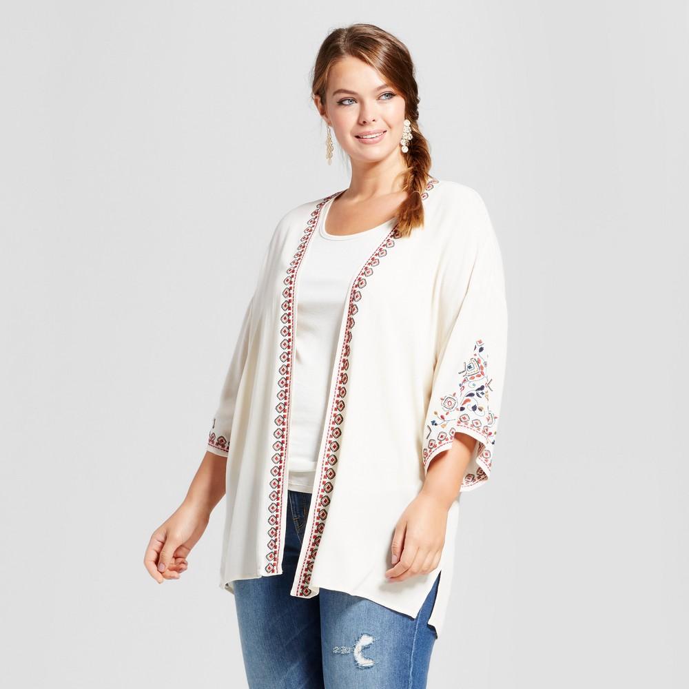 Womens Plus Size Embroidered Kimono - Xhilaration White 3X