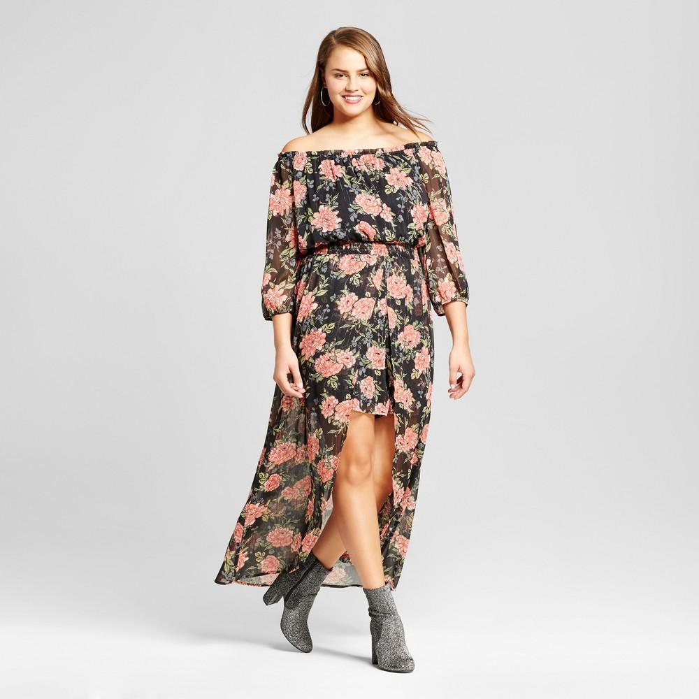 Womens Plus Size Floral Print Woven Walk Thru Dress - Xhilaration Black X