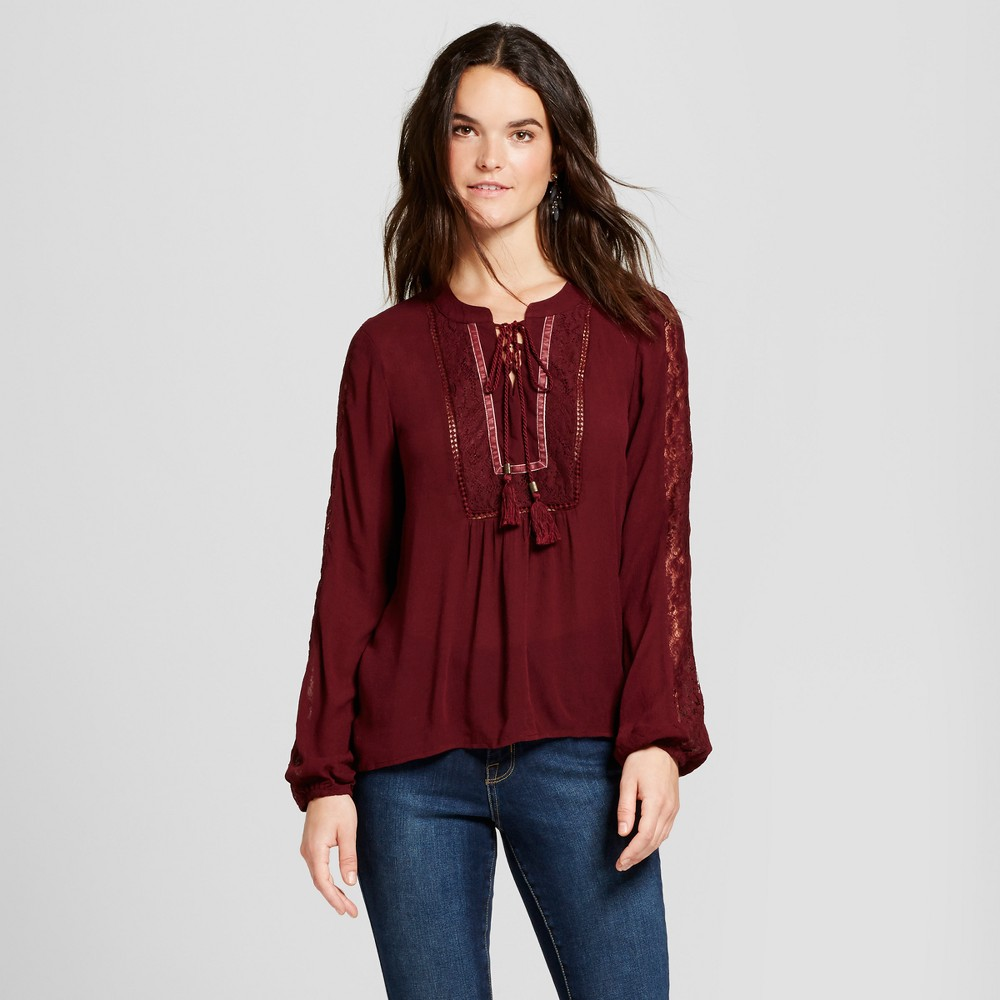 Womens Velvet Trim Lace Arm Top - Knox Rose Burgundy XL, Red