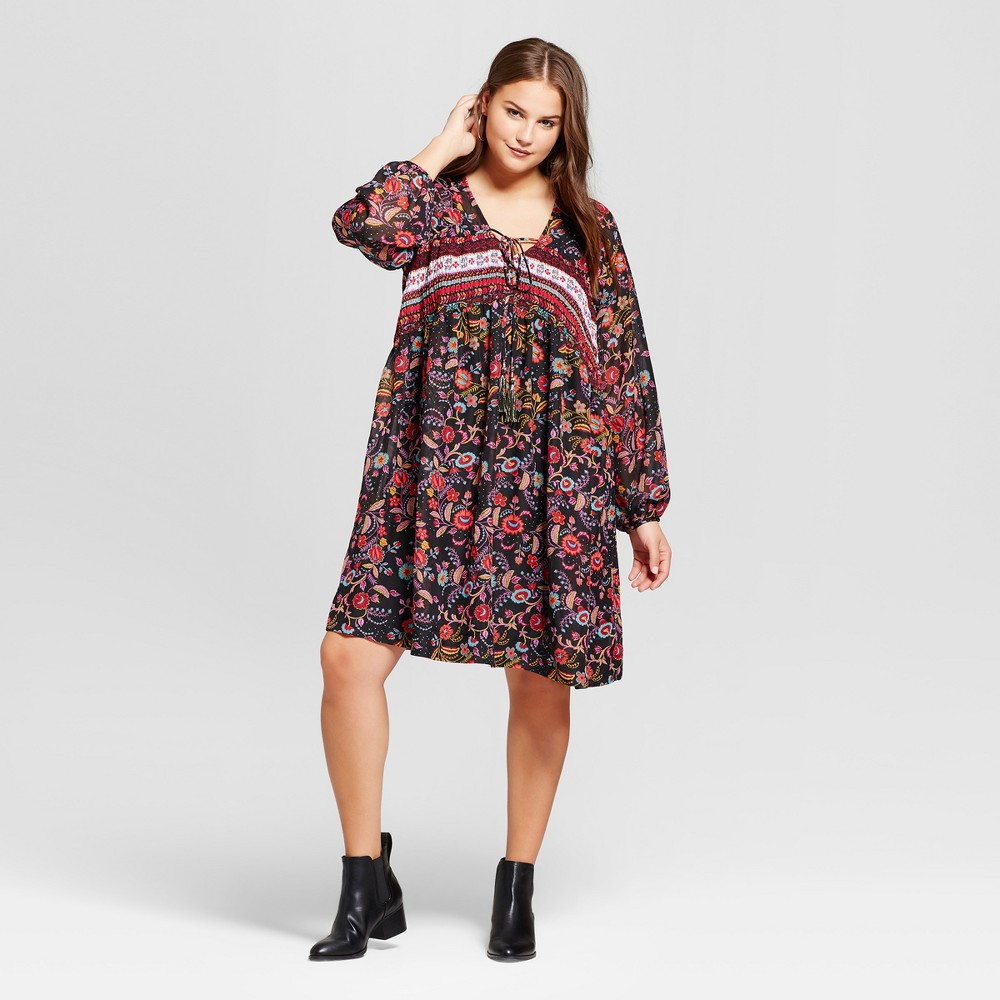 Womens Plus Size Printed Woven Long Sleeve Dress with Smocking - Xhilaration Black 2X