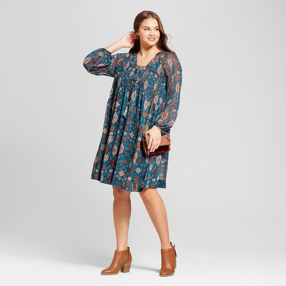 Womens Plus Size Printed Woven Long Sleeve Dress with Smocking - Xhilaration Teal 1X, Blue