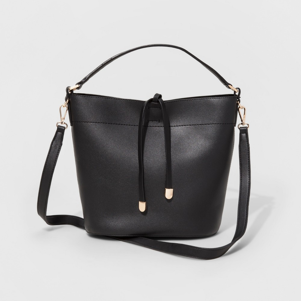 Womens Faux Leather Bucket Crossbody Bag - Black