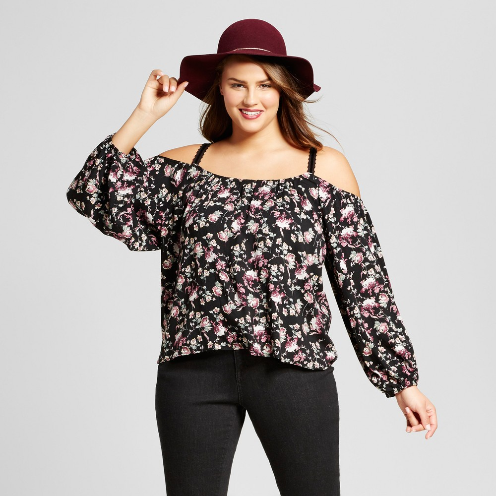 Womens Plus Size Floral Print Woven Cold Shoulder Top Set - Xhilaration Black X