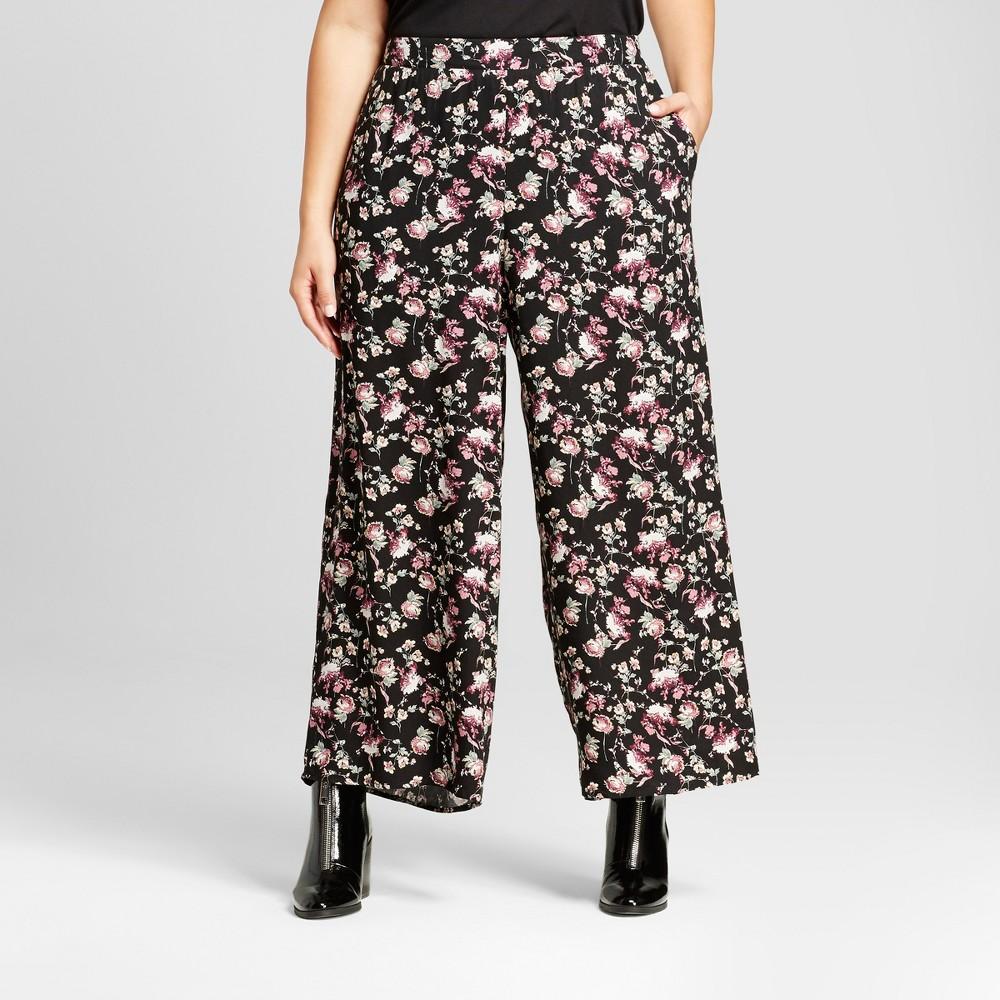 Womens Plus Size Floral Print Woven Pants Set - Xhilaration Black 1X