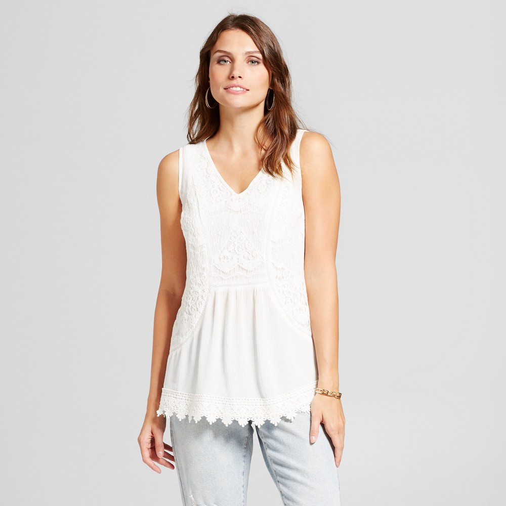 Womens Lace Front Tank - Knox Rose Ivory Xxl, White