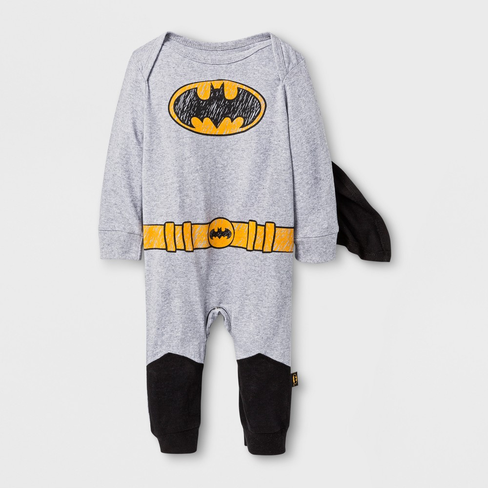 Baby Boys Caped Batman Coverall - Navy/Red NB, Gray