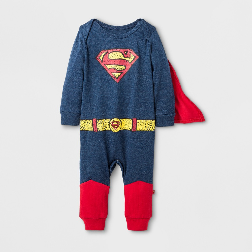 Baby Boys' Caped Superman Coverall - Gray/Black 24M, Size: 24 M, Blue