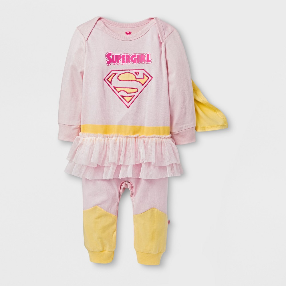 Baby Girls Caped Supergirl Coverall - Pink/Yellow 3-6 M