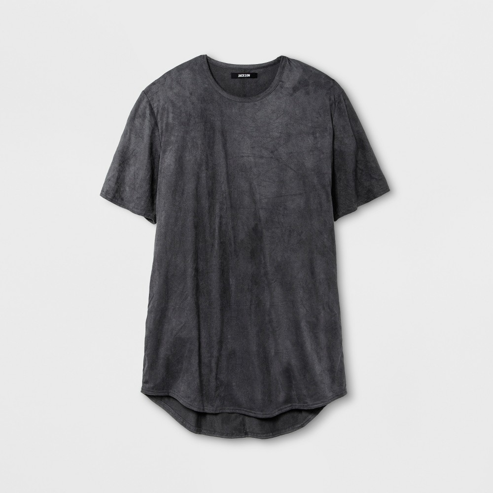 Mens Suede Curved Hem T-Shirt - Jackson Gray M