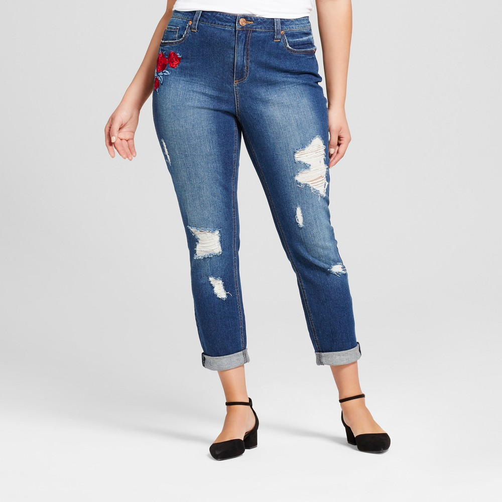 Womens Plus Size Embroidered & Distressed Skinny Jeans - Almost Famous (Juniors) - Dark Wash 14W, Blue