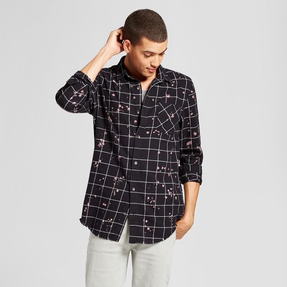 Mens Long Sleeve Bleached Button Down Shirt - Jackson Black/Bleach M