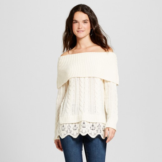 Women's Lace Twofer Cable Knit Sweater - Knox Rose™ Ivory : Target