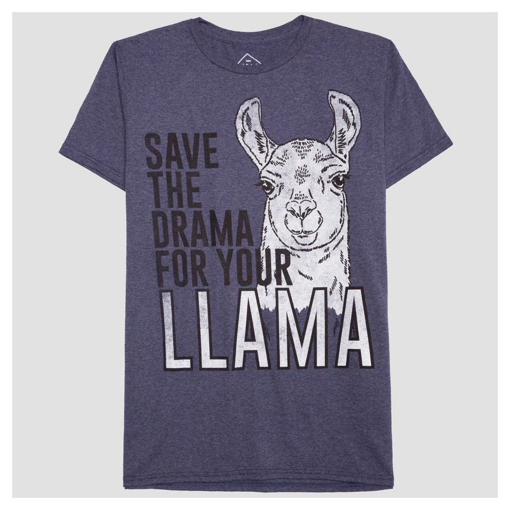 Mens Save the Drama for your Llama Graphic T-Shirt - Well Worn Navy Heather XL, Blue