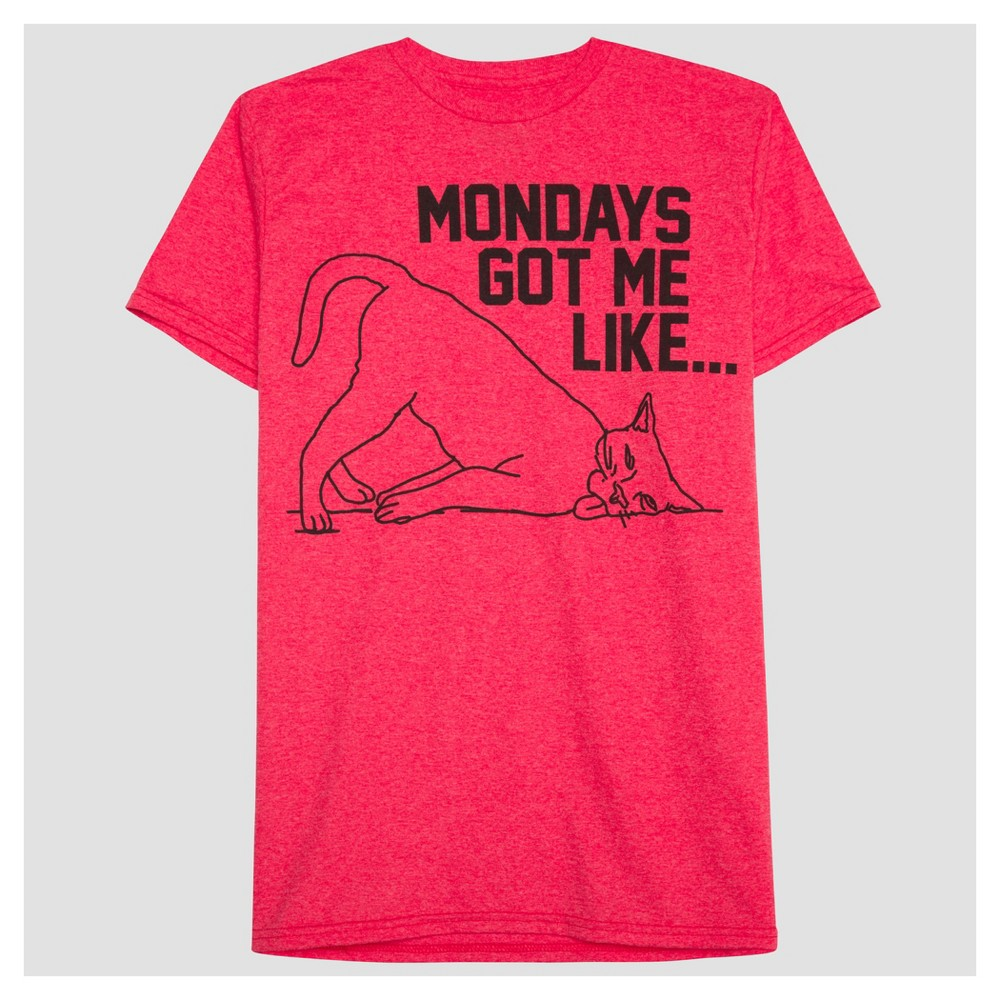 Mens Mondays Got Me Like Graphic T-Shirt - Well Worn Red Heather Xxl