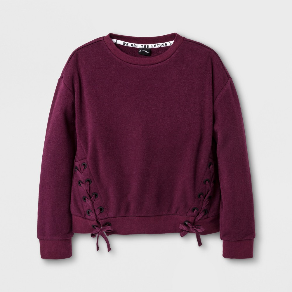 Girls Lace-up Pullover - Art Class Autumn Purple XL