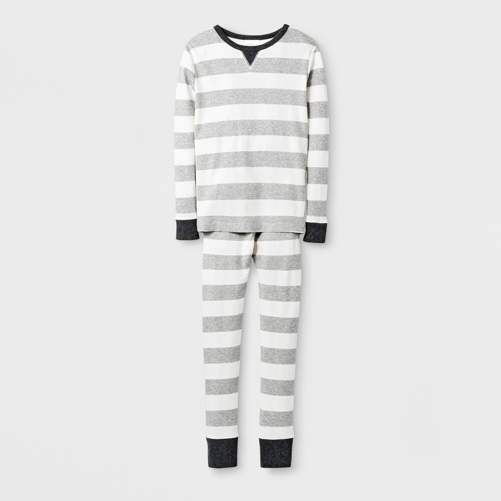 Kids Rugby Striped Pajama Set - Wonder Shop Gray 10, Kids Unisex
