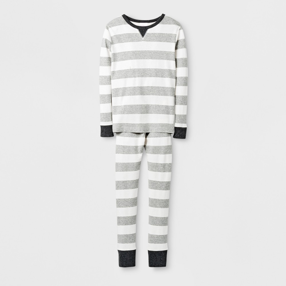 Kids Rugby Striped Pajama Set - Wonder Shop Gray 8, Kids Unisex