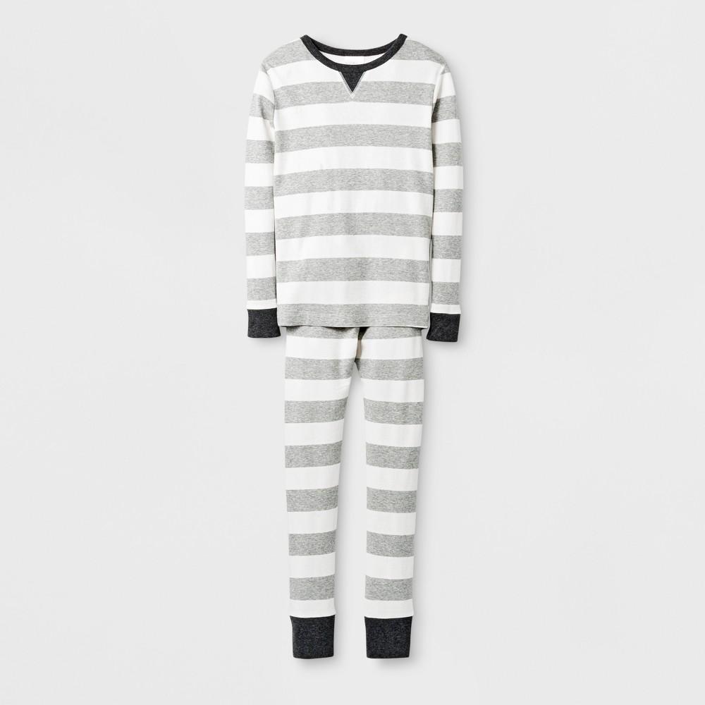 Kids Rugby Striped Pajama Set - Wonder Shop Gray 5, Kids Unisex